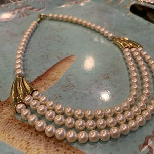 Napier Faux Pearl Necklace w/ gold tones